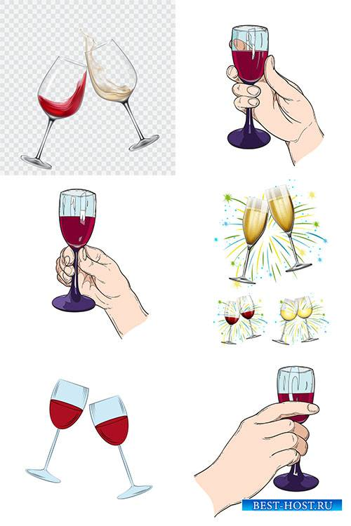 Бокалы с вином - Векторный клипарт / Wine glasses - Vector Graphics
