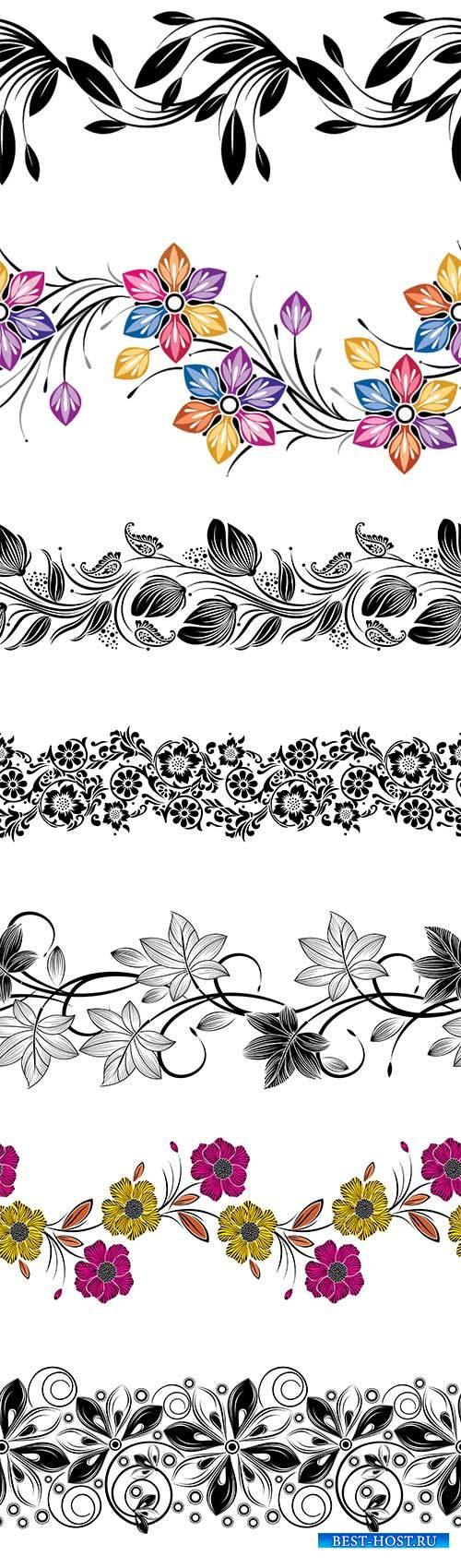 Seamless vector creative flower border