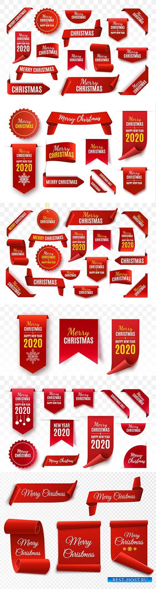 Christmas tags and labels collection, red scrolls and banners