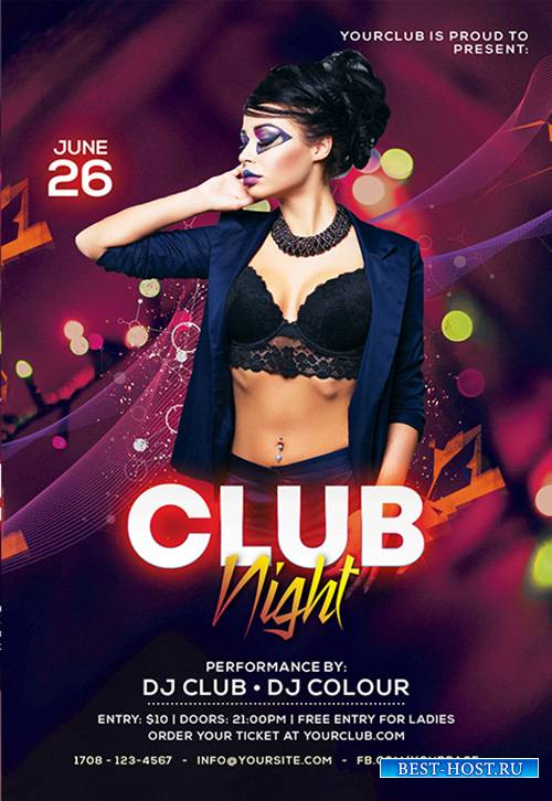 Color club style club psd flyer template