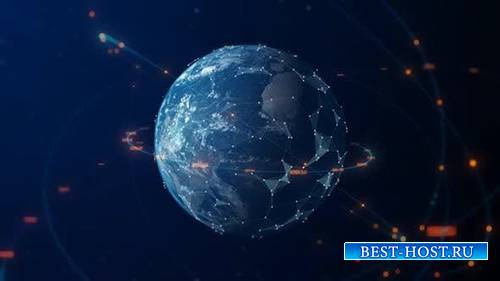 Videohive - Digital Earth With Connection Lines 4K - 24975917