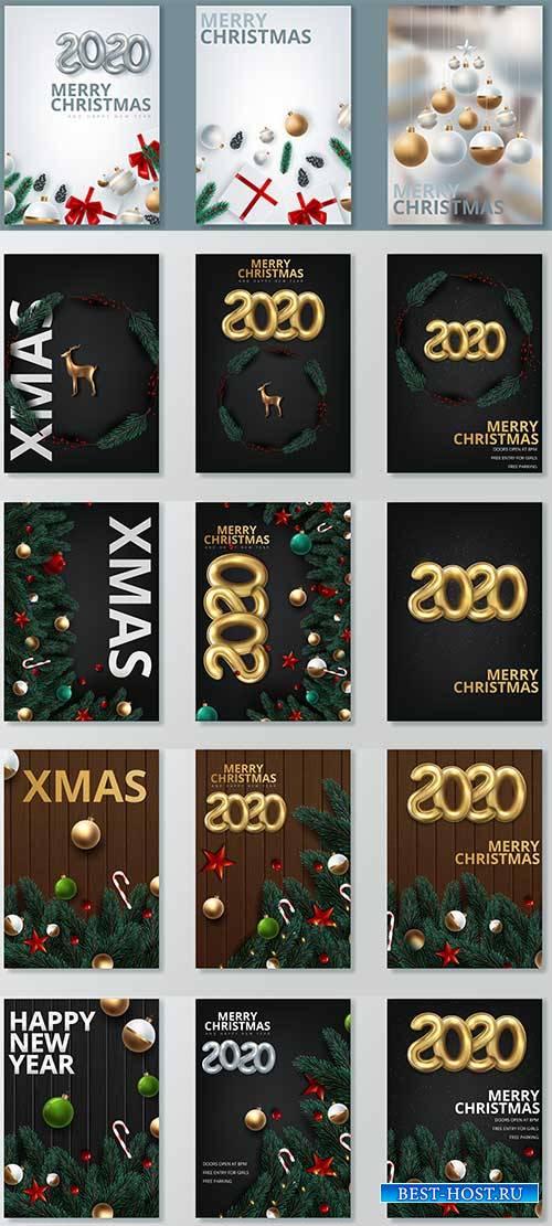 Новогодние баннеры - 3 - Векторный клипарт / Christmas banners - 3 - Vector ...