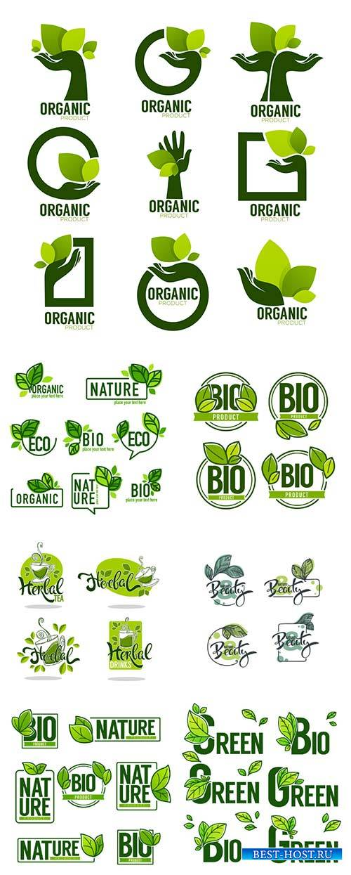 Nature and Bio Product, doodle organic leaves emblems, stickers,