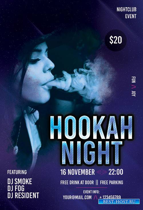 Hookah Night - Premium flyer psd template