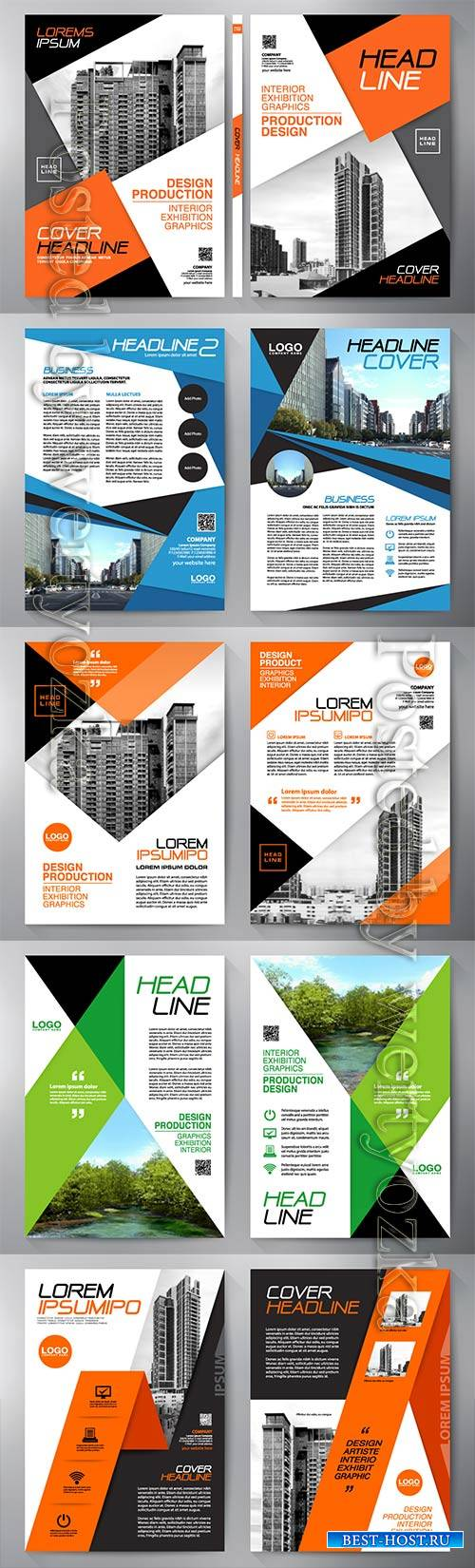 Business brochure flyer, cover book and magazine, annual report