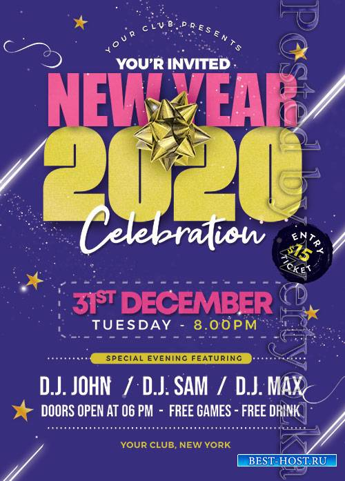 New Year 2020 Party - Premium flyer psd template