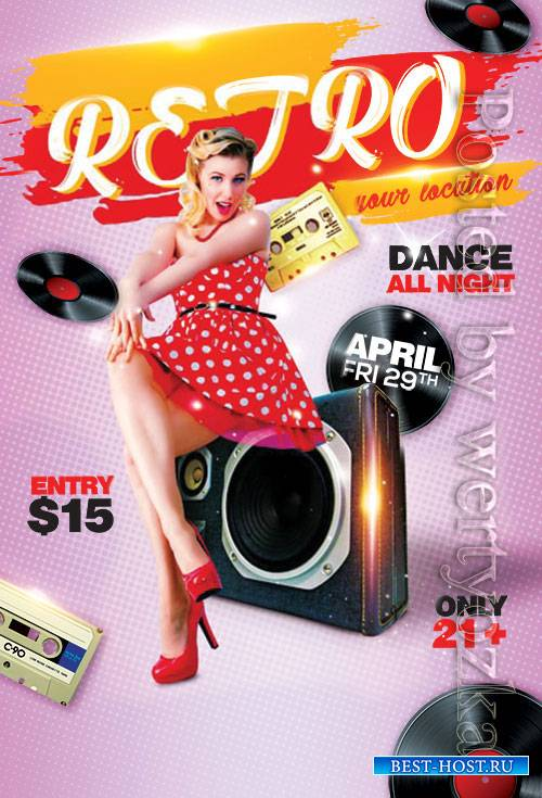 Retro Party - Premium flyer psd template