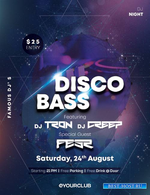 Disco Bass - Premium flyer psd template