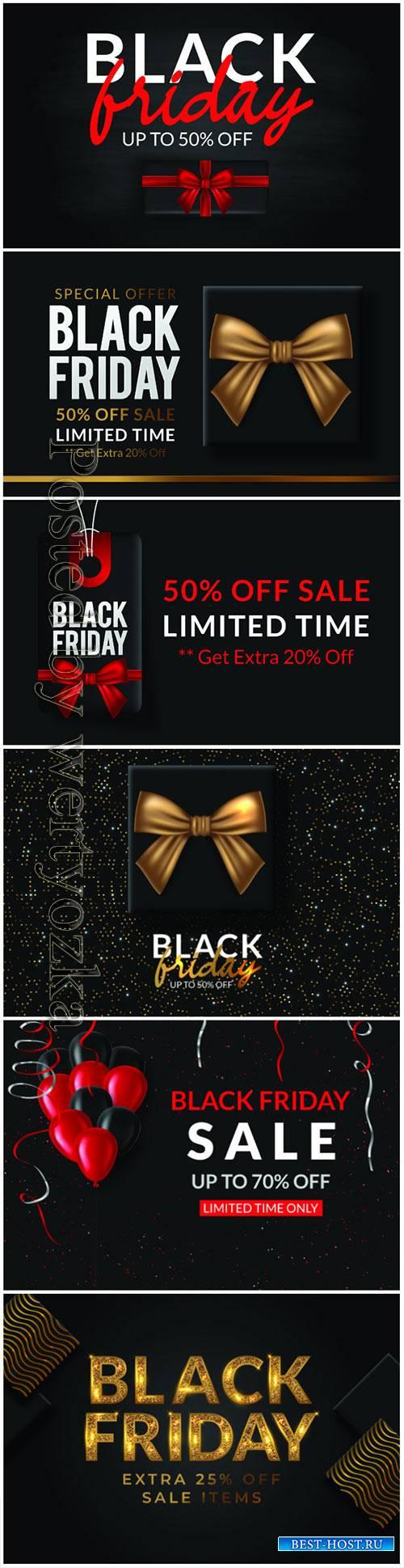 Vector poster Black Friday Sale on dark background