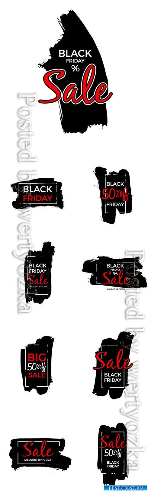 Black friday sale vector poster or label design