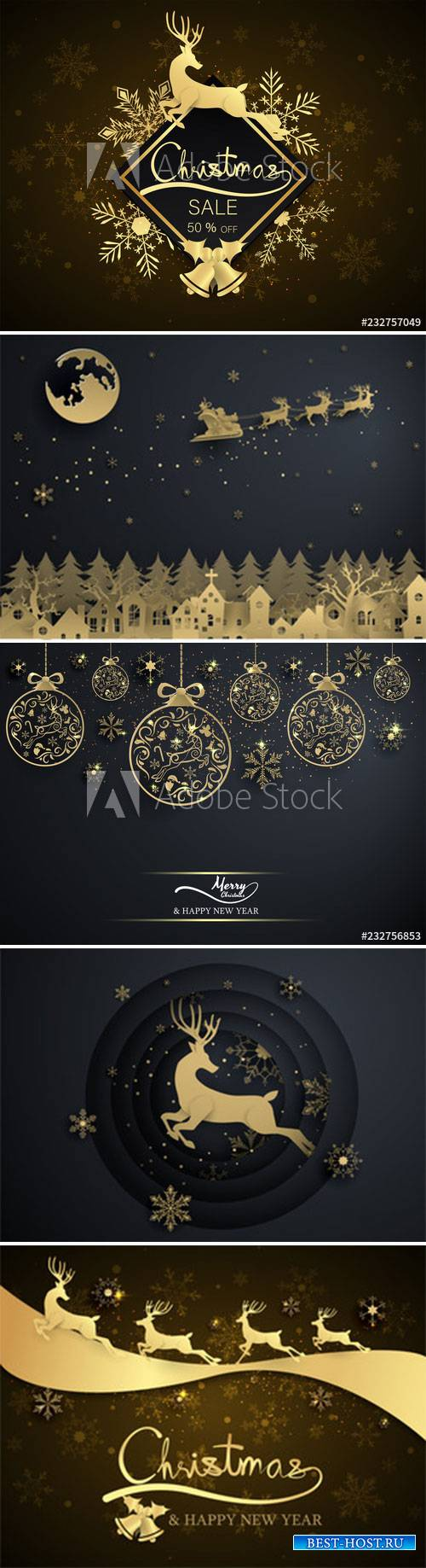 Gold snowflake and decoration christmas ball on black background, merry chr ...