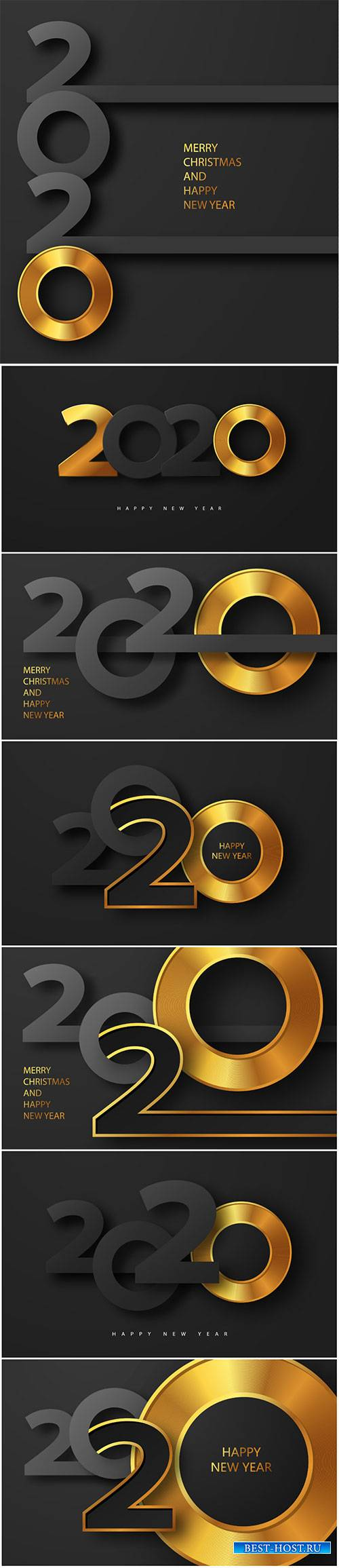 Merry Christmas and Happy new year 2020 banner with golden luxury text