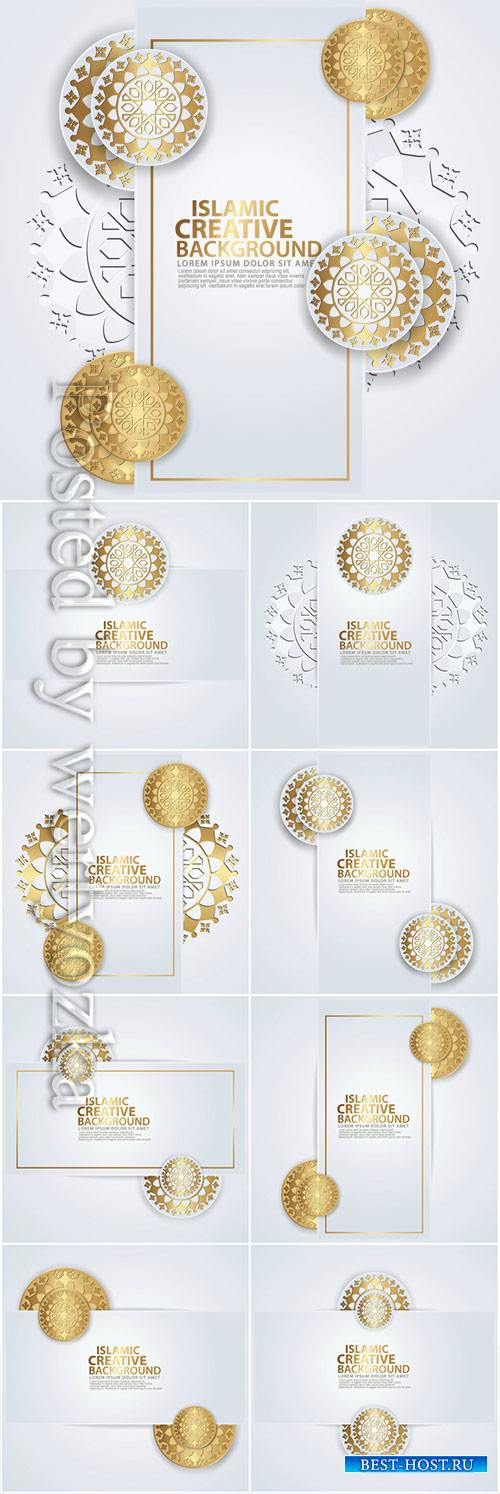 Luxurious arabic design greeting card for major Islamic events