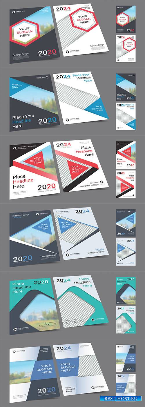 Poster cover book design template in A4 layout with space for photo backgro ...
