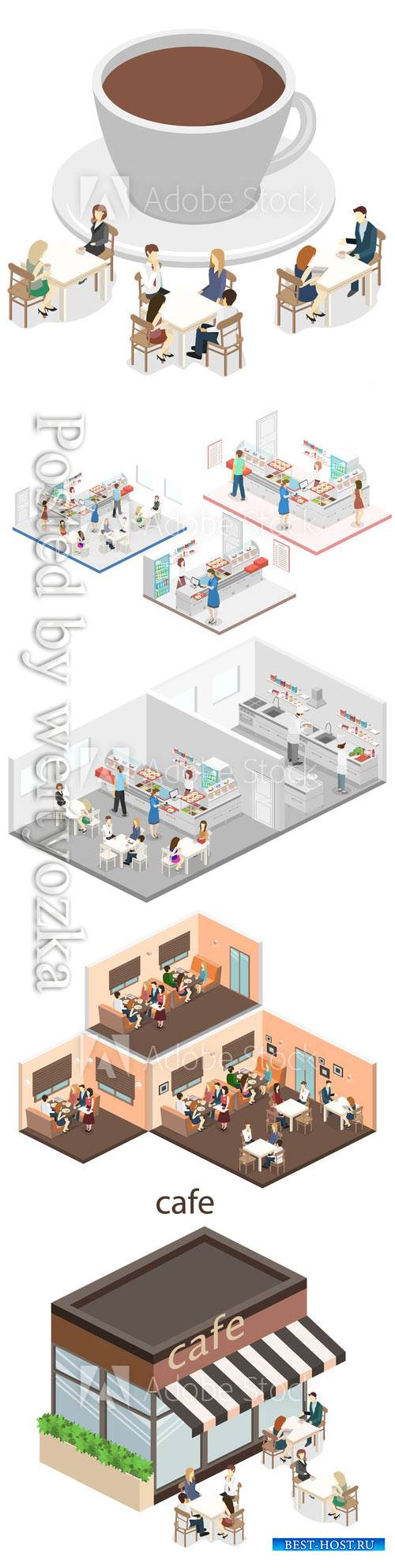 Isometric flat 3D concept vector interior of a coffee shop