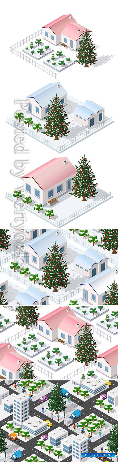 Christmas winter city graphic conceptual holiday illustration