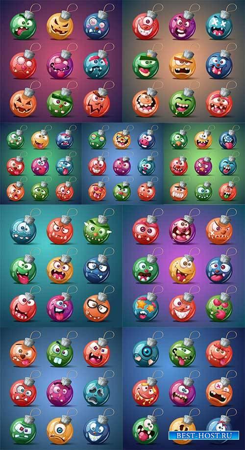 Новогодние шары-эмоции - Векторный клипарт / Christmas balls emotions - Vector Graphics