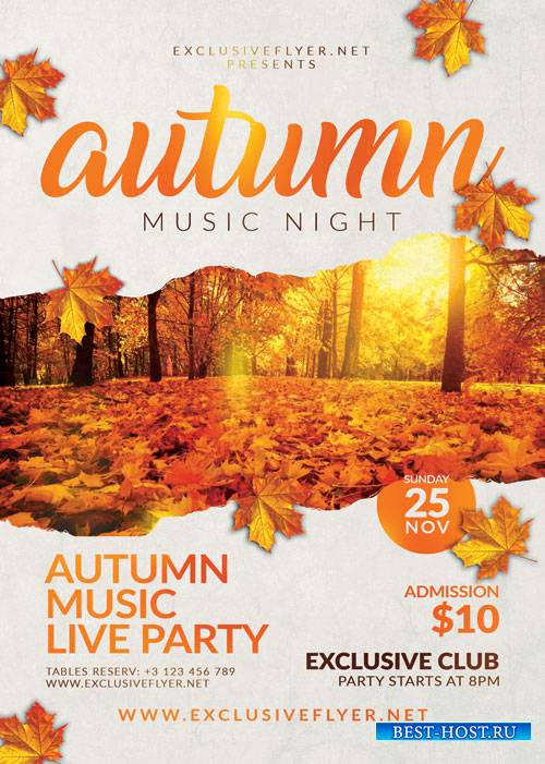 Autumn music_night - Premium flyer psd template