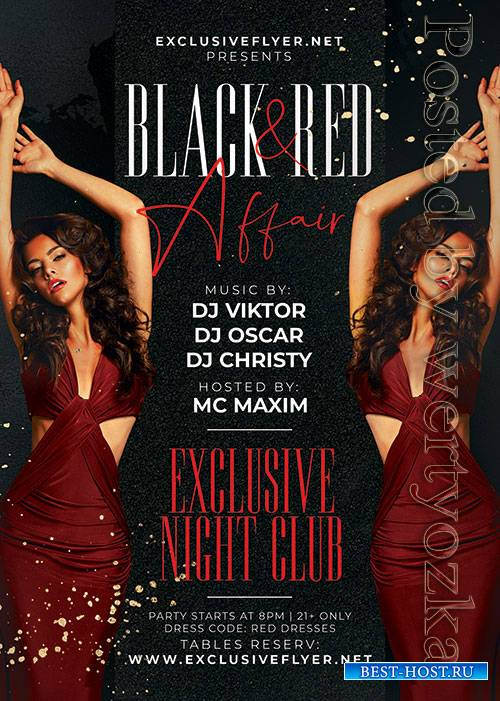 Black and red affair - Premium flyer psd template