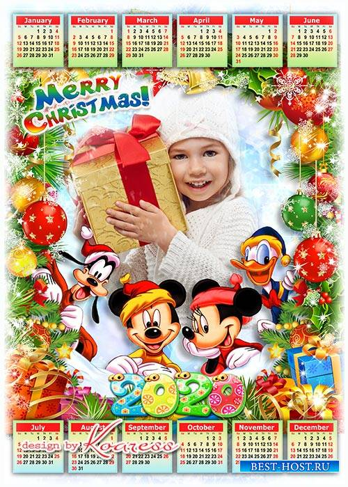 Праздничный детский календарь-рамка на 2020 год с героями мультфильмов Диснея - Веселых зимних праздников
