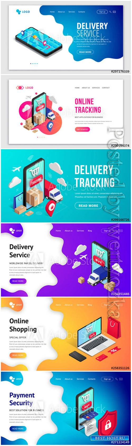 Tracking isometric concept phone banner