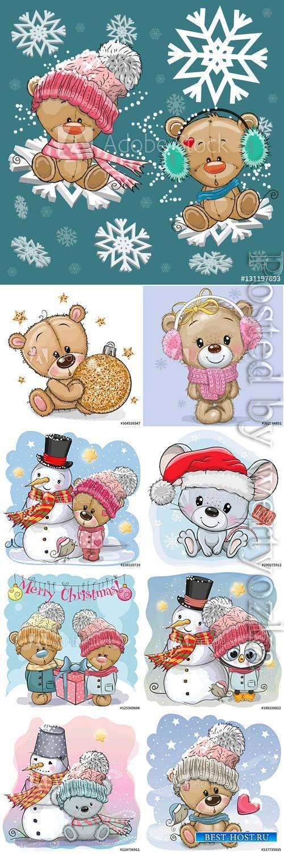 Cartoon animals on winter background