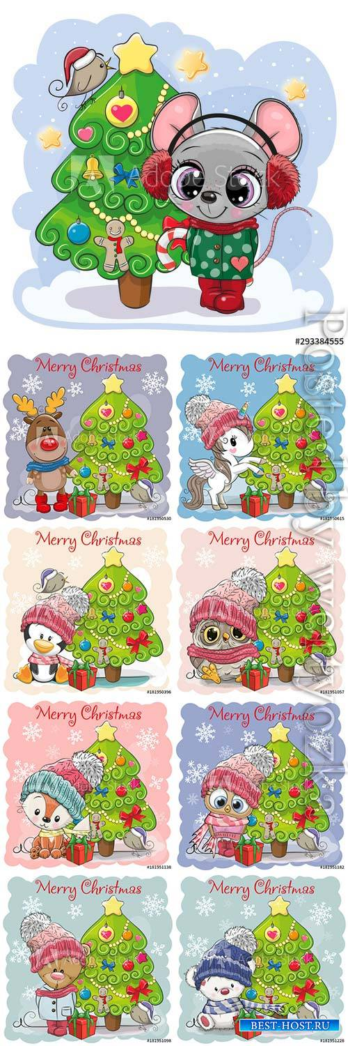 Cartoon animals at the christmas tree