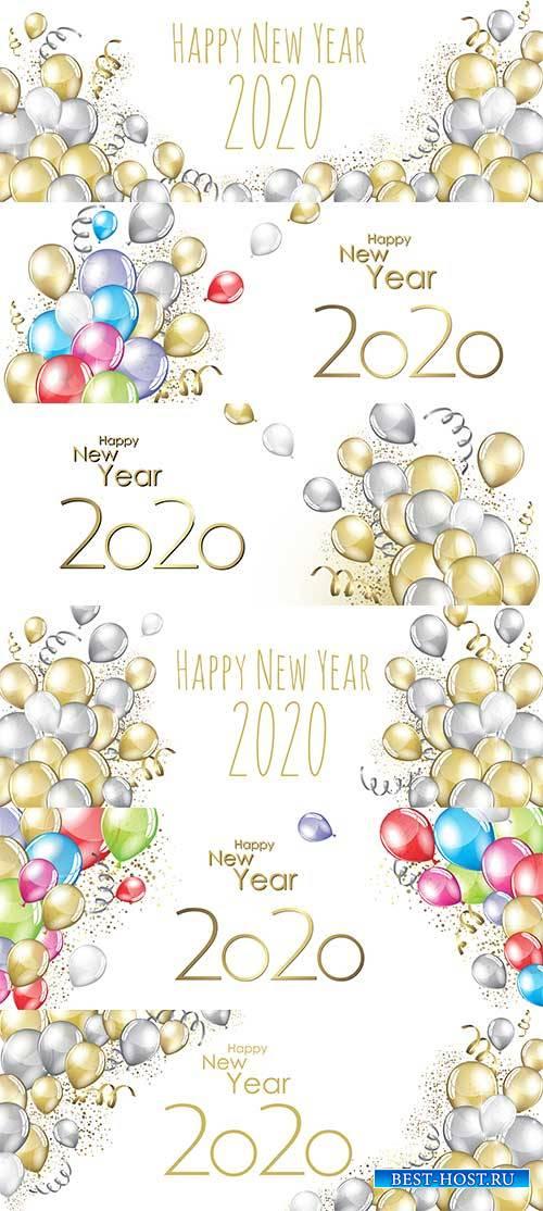 Фоны с шарами 2020 - Векторный клипарт / Backgrounds with balls 2020 - Vector Graphics