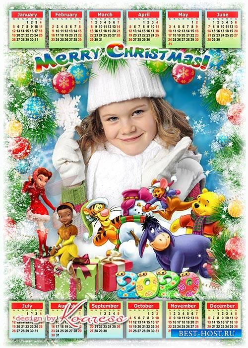 Праздничный детский календарь на 2020 год с героями Диснея - Вместе с добрыми друзьями мы встречаем Новый Год