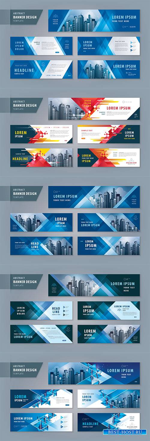 Abstract presentation templates, infographic elements design set