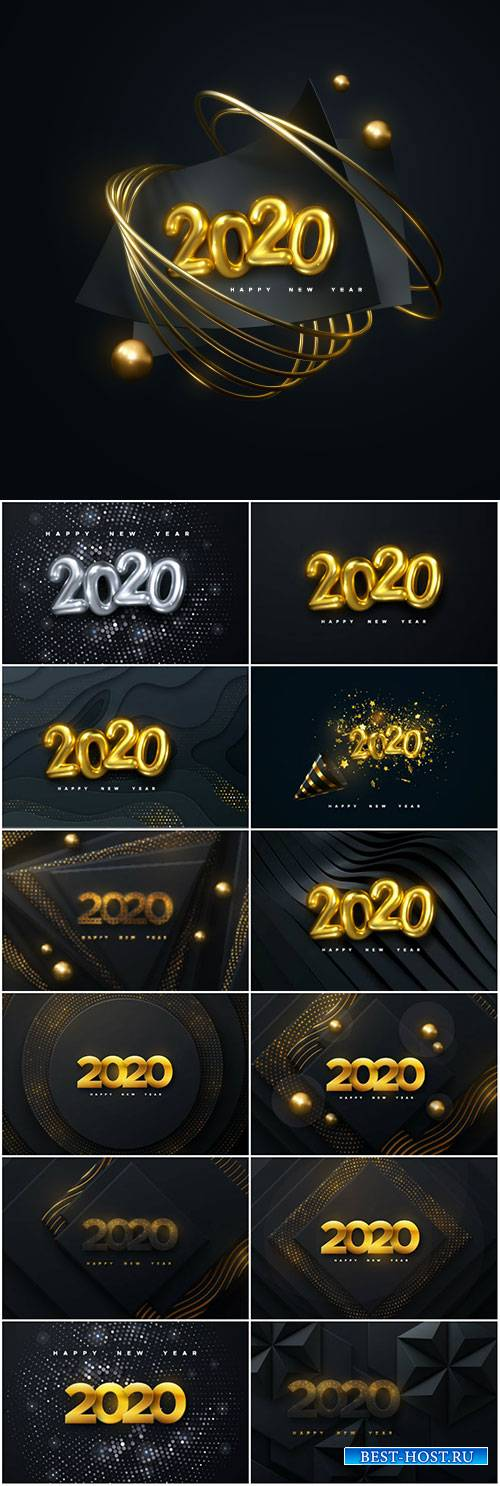 Happy New 2020 Year, holiday vector illustration of numbers 2020
