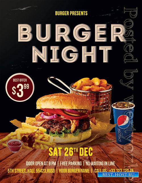 Burger Night - Premium flyer psd template