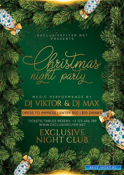 Christmas night party - Premium flyer psd template