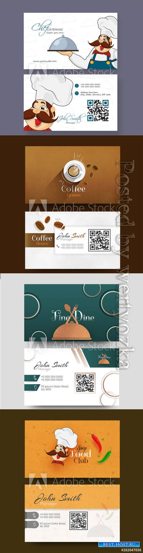 Food Club business card or visiting card design