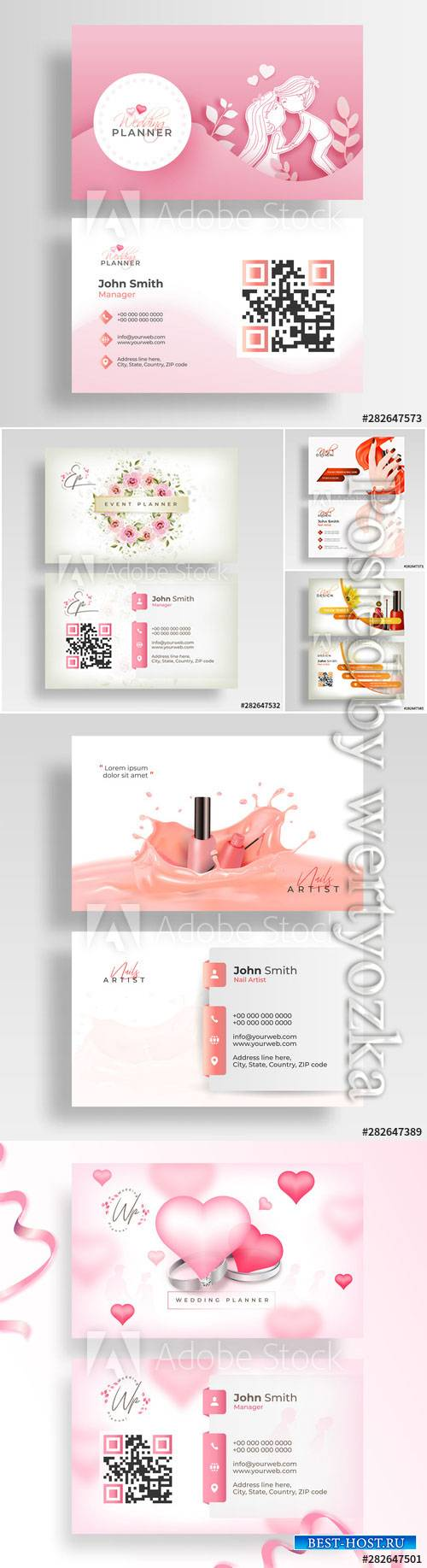 Wedding business cards, business cards for beauty salon in vector