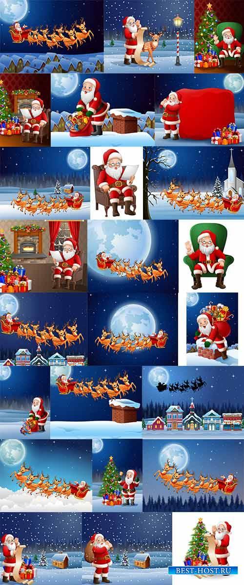 Фоны с Дед Морозом  - Векторный клипарт / Backgrounds with Santa Claus - Vector Graphics
