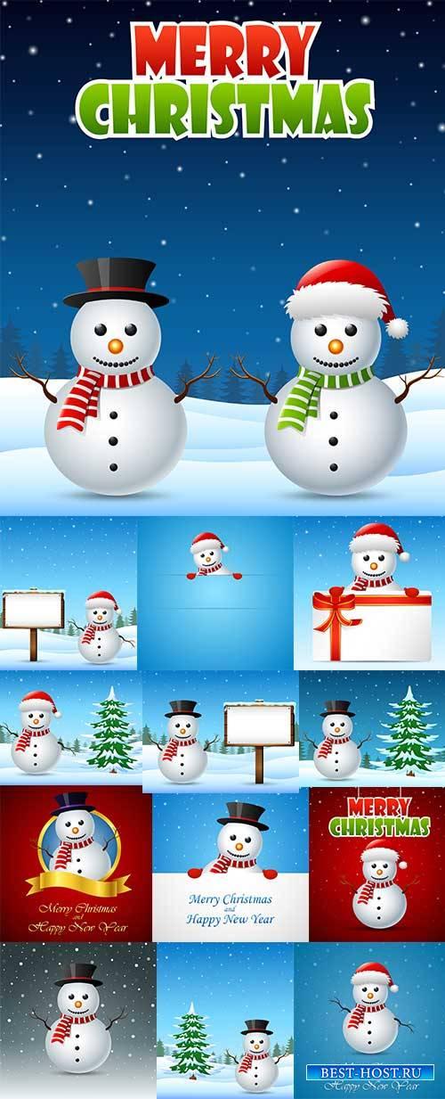 Фоны со снеговиками - Векторный клипарт / Backgrounds with snowmen - Vector Graphics