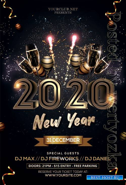 2020 new year - Premium flyer psd template