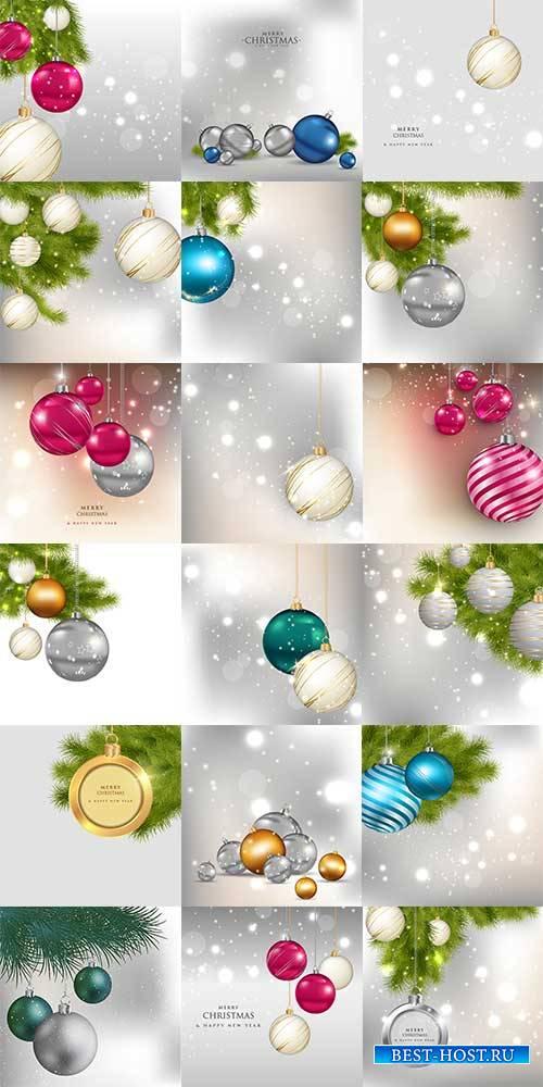Новогодние фоны с шарами в векторе / Christmas background with balls in vector