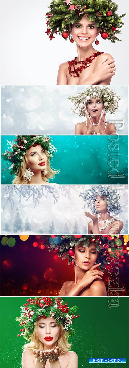 Fashion model girl with fir branches decoration