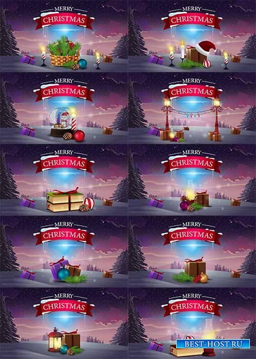 Логотип - С рождеством - Векторный клипарт / Merry Christmas logo - Vector Graphics