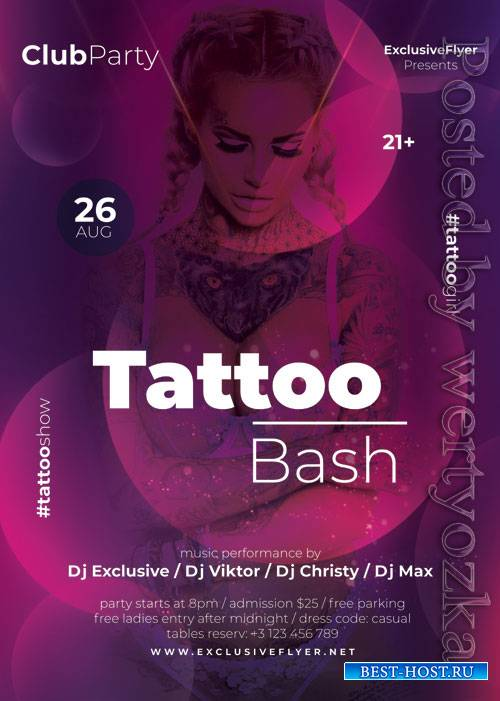 Tattoo bash - Premium flyer psd template