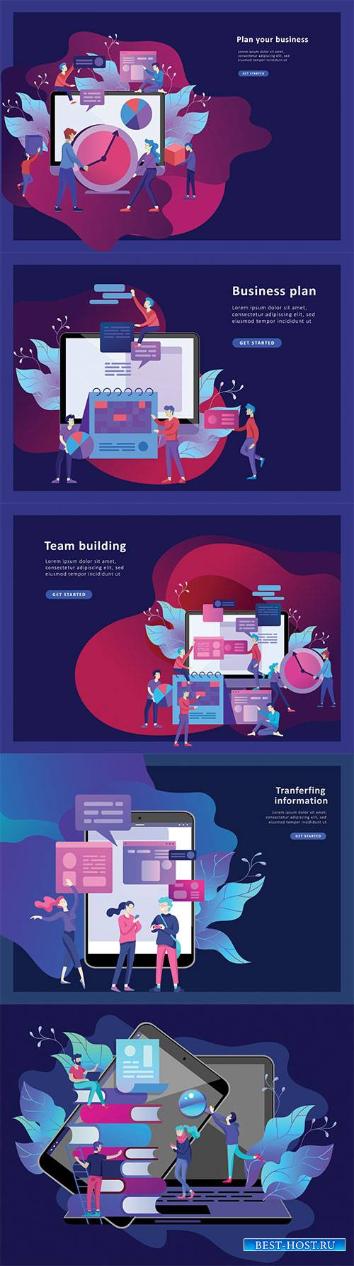 Website page isometric vector, flat banner concept illustration # 54