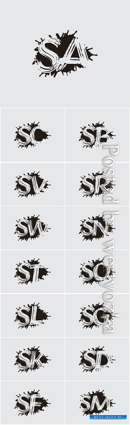Initial flat splatter logo icon