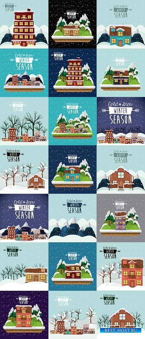 Зимние пейзажи 2 - Векторный клипарт / Winter landscapes 2 - Vector Graphic ...