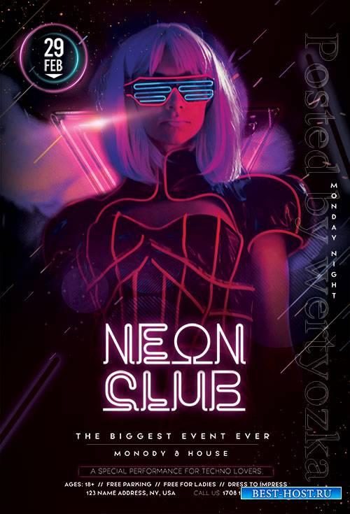 Neon Club  - Premium flyer psd template