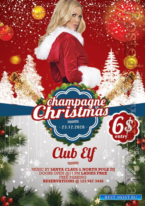 Champagne christmas - Premium flyer psd template