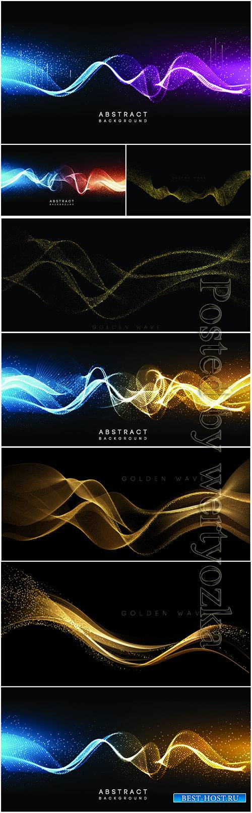 Gold and color waves in vector