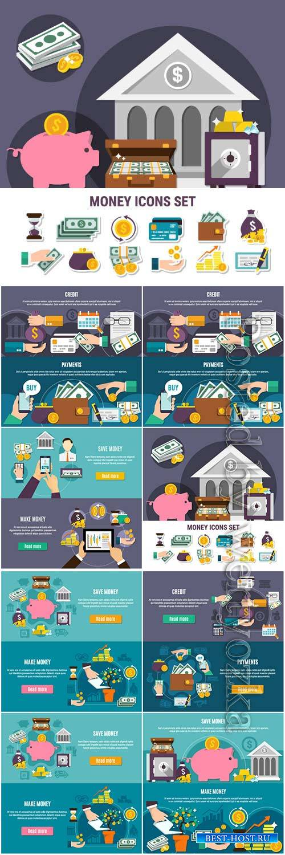 Money flat banner vector set