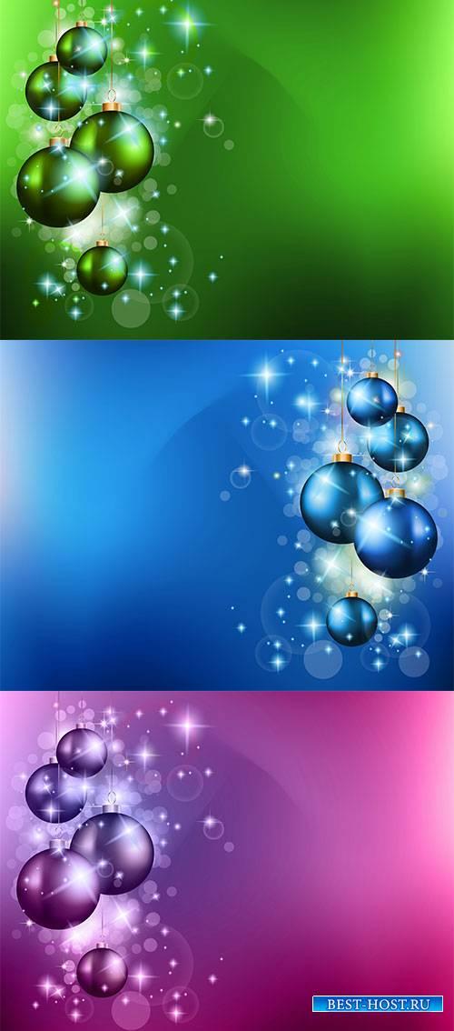 Фоны с новогодними шарами - Векторный клипарт / Backgrounds with Christmas balls - Vector Graphics